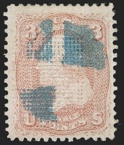 Sale Number 1195, Lot Number 331, 1867-68 Grilled Issue: C Grill3c Rose, Double C. Grill (83 var), 3c Rose, Double C. Grill (83 var)
