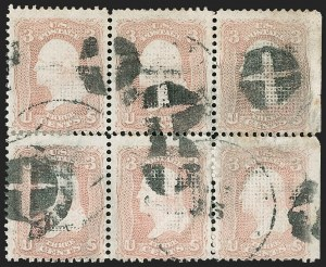 Sale Number 1195, Lot Number 332, 1867-68 Grilled Issue: C Grill3c Rose, C. Grill (83), 3c Rose, C. Grill (83)