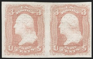 Sale Number 1195, Lot Number 336, 1867-68 Grilled Issue: C Grill3c Rose, C. Grill, Imperforate (83a), 3c Rose, C. Grill, Imperforate (83a)