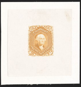 Sale Number 1195, Lot Number 34, 1861 Contract Essays: 24-Cent 24c Orange Yellow, Large Die Trial Color Proof on India (70TC1a), 24c Orange Yellow, Large Die Trial Color Proof on India (70TC1a)