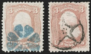 Sale Number 1195, Lot Number 344, 1867-68 Grilled Issue: D Grill3c Rose, D. Grill (85), 3c Rose, D. Grill (85)