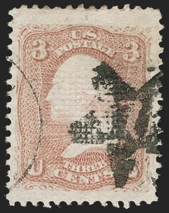 Sale Number 1195, Lot Number 358, 1867-68 Grilled Issue: Z Grill3c Rose, Z. Grill (85C), 3c Rose, Z. Grill (85C)