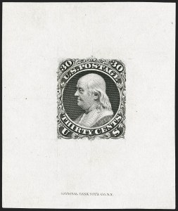 Sale Number 1195, Lot Number 36, 1861 Contract Essays: 30-Cent National Bank Note Co., 30c Black, First Design, Large Die Essay on India (71-E1), National Bank Note Co., 30c Black, First Design, Large Die Essay on India (71-E1)