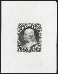 Sale Number 1195, Lot Number 37, 1861 Contract Essays: 30-Cent National Bank Note Co., 30c Black, First Design, Large Die Essay on India (71-E2a), National Bank Note Co., 30c Black, First Design, Large Die Essay on India (71-E2a)