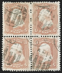 Sale Number 1195, Lot Number 371, 1867-68 Grilled Issue: E Grill3c Rose, E. Grill (88), 3c Rose, E. Grill (88)