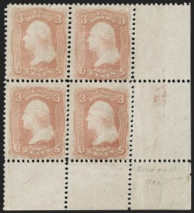 Sale Number 1195, Lot Number 383, 1867-68 Grilled Issue: F Grill3c Red, F. Grill (94), 3c Red, F. Grill (94)