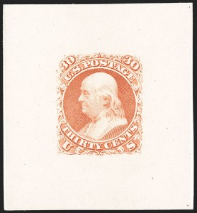 Sale Number 1195, Lot Number 39, 1861 Contract Essays: 30-Cent National Bank Note Co., 30c Scarlet, First Design, Large Die Essay on India (71-E2a), National Bank Note Co., 30c Scarlet, First Design, Large Die Essay on India (71-E2a)