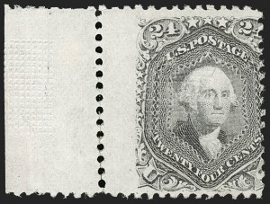 "Sale Number 1195, Lot Number 397, 1867-68 Grilled Issue: F Grill24c Gray Lilac, F. Grill, Scratch under ""A"" of ""Postage"" (99 var), 24c Gray Lilac, F. Grill, Scratch under ""A"" of ""Postage"" (99 var)"