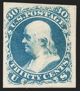 Sale Number 1195, Lot Number 40, 1861 Contract Essays: 30-Cent National Bank Note Company, 30c Blue, First Design, Plate Essay on Split Card (71-E2c), National Bank Note Company, 30c Blue, First Design, Plate Essay on Split Card (71-E2c)