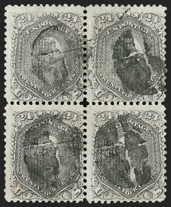 Sale Number 1195, Lot Number 400, 1867-68 Grilled Issue: F Grill24c Gray Lilac, F. Grill (99), 24c Gray Lilac, F. Grill (99)