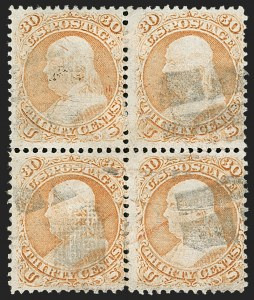 Sale Number 1195, Lot Number 405, 1867-68 Grilled Issue: F Grill30c Orange, F. Grill (100), 30c Orange, F. Grill (100)