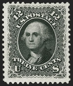 Sale Number 1195, Lot Number 416, 1875 Re-Issue of 1861-66 Issue12c Black, Re-Issue (107), 12c Black, Re-Issue (107)