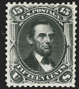 Sale Number 1195, Lot Number 418, 1875 Re-Issue of 1861-66 Issue15c Black, Re-Issue (108), 15c Black, Re-Issue (108)
