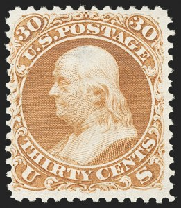 Sale Number 1195, Lot Number 420, 1875 Re-Issue of 1861-66 Issue30c Brownish Orange, Re-Issue (110), 30c Brownish Orange, Re-Issue (110)
