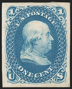 Sale Number 1195, Lot Number 422, 1875 Re-Issue of 1861-66 Issue1c Blue, Re-Issue, 1900 Paris International Exhibition Special Printing, Imperforate (102 var), 1c Blue, Re-Issue, 1900 Paris International Exhibition Special Printing, Imperforate (102 var)