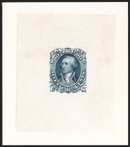 Sale Number 1195, Lot Number 43, 1861 Contract Essays: 90-Cent National Bank Note Co., 90c Blue, First Design, Progressive Large Die Essay on India (72-E7b), National Bank Note Co., 90c Blue, First Design, Progressive Large Die Essay on India (72-E7b)