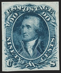 Sale Number 1195, Lot Number 45, 1861 Contract Essays: 90-Cent 90c Blue, First Design, Imperforate on Semi-Transparent Stamp Paper (62a; 72-E7g), 90c Blue, First Design, Imperforate on Semi-Transparent Stamp Paper (62a; 72-E7g)