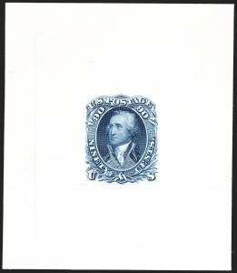 Sale Number 1195, Lot Number 47, 1861 Contract Essays: 90-Cent 90c Blue, Large Die Proof on India (72P1), 90c Blue, Large Die Proof on India (72P1)