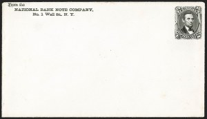 Sale Number 1195, Lot Number 58, 1861-66 Envelope EssaysNational Bank Note Co., 15c Black on White entire, 1866 Issue Essay (Undersander E-27F), National Bank Note Co., 15c Black on White entire, 1866 Issue Essay (Undersander E-27F)