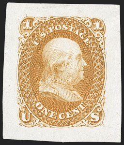 Sale Number 1195, Lot Number 8, 1861 Contract Essays: 1-Cent1c 1861 Issue, Small Die Trial Color Proofs on India (63TC2), 1c 1861 Issue, Small Die Trial Color Proofs on India (63TC2)