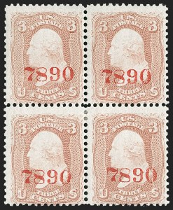 "Sale Number 1195, Lot Number 89, Specimens3c Rose, Red Control Number ""7890"" Overprint Ty. J (65SJ), 3c Rose, Red Control Number ""7890"" Overprint Ty. J (65SJ)"
