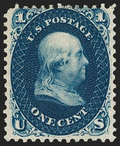 Sale Number 1195, Lot Number 93, 1861 First Designs and Colors Stamps1c Indigo, First Design (55), 1c Indigo, First Design (55)