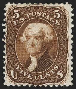 Sale Number 1195, Lot Number 94, 1861 First Designs and Colors Stamps5c Brown, First Design (57), 5c Brown, First Design (57)