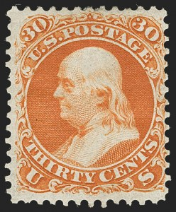 Sale Number 1195, Lot Number 97, 1861 First Designs and Colors Stamps30c Red Orange, First Color (61), 30c Red Orange, First Color (61)