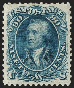Sale Number 1195, Lot Number 98, 1861 First Designs and Colors Stamps90c Blue, First Design (62), 90c Blue, First Design (62)