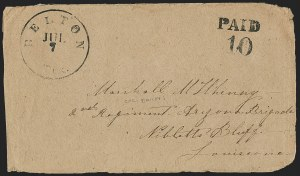 Sale Number 1196, Lot Number 1001, Confederate States: Handstamped Paid and DueBelton Tex. Jul. 7, Belton Tex. Jul. 7