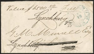 Sale Number 1196, Lot Number 1004, Confederate States: Handstamped Paid and DueSouthern Express Co., Augusta Ga., Dec. 18 (1865), Southern Express Co., Augusta Ga., Dec. 18 (1865)