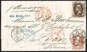 Sale Number 1196, Lot Number 1249, France (including Algeria and Corsica)New York Foreign Mail Geometrics on Covers to France and Italy, New York Foreign Mail Geometrics on Covers to France and Italy