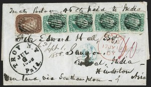 Sale Number 1196, Lot Number 1413, India and Afghanistan10c Green, Ty. II, III (32, 33 three), 10c Green, Ty. II, III (32, 33 three)