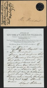 Sale Number 1196, Lot Number 503, Presidential Free Franks & Other DocumentsMagnetic Telegraph Co., Vice President Millard Fillmore to President Zachary Taylor, Magnetic Telegraph Co., Vice President Millard Fillmore to President Zachary Taylor