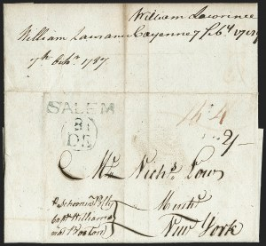 Sale Number 1196, Lot Number 520, Colonial & 19th Century1787, Cayenne, French Guiana to New York via Salem, 1787, Cayenne, French Guiana to New York via Salem