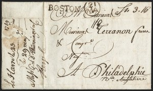 Sale Number 1196, Lot Number 522, Colonial & 19th Century1789, Havre, France to Philadelphia via Boston, 1789, Havre, France to Philadelphia via Boston