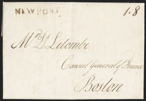 Sale Number 1196, Lot Number 523, Colonial & 19th Century1791, Newport R.I. to Boston, 1791, Newport R.I. to Boston