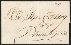 Sale Number 1196, Lot Number 524, Ship Mail from 18001802, Havana, Cuba to Philadelphia via New York, 1802, Havana, Cuba to Philadelphia via New York