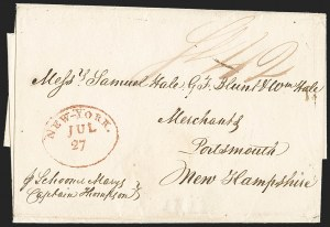 Sale Number 1196, Lot Number 525, Ship Mail from 18001803, Havana, Cuba to Portsmouth N.H. via New York, 1803, Havana, Cuba to Portsmouth N.H. via New York