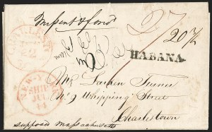 Sale Number 1196, Lot Number 527, Ship Mail from 18001837, Havana, Cuba to Charleston S.C, 1837, Havana, Cuba to Charleston S.C