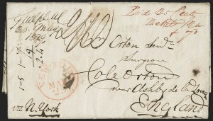 Sale Number 1196, Lot Number 528, Ship Mail from 18001839, Guelph, Upper Canada to Cole-Orton, England via New York, 1839, Guelph, Upper Canada to Cole-Orton, England via New York