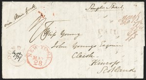 Sale Number 1196, Lot Number 529, Ship Mail from 18001869, Dundas, Upper Canada to Kinross, Scotland via New York, 1869, Dundas, Upper Canada to Kinross, Scotland via New York