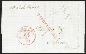Sale Number 1196, Lot Number 530, Ship Mail from 18001839, Liverpool to Salem Mass, 1839, Liverpool to Salem Mass