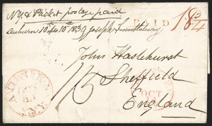 Sale Number 1196, Lot Number 531, Ship Mail from 18001839, Auburn N.Y. to Sheffield, England, 1839, Auburn N.Y. to Sheffield, England