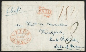 Sale Number 1196, Lot Number 532, Ship Mail from 18001840, Utica N.Y. to Kirk Patrick, Isle of Man, 1840, Utica N.Y. to Kirk Patrick, Isle of Man