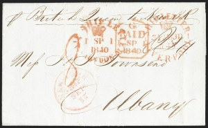Sale Number 1196, Lot Number 534, Ship Mail from 18001840, Liverpool to Albany N.Y, 1840, Liverpool to Albany N.Y