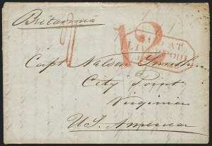 Sale Number 1196, Lot Number 537, Ship Mail from 18001848, Liverpool, England to City Point Va., 1848, Liverpool, England to City Point Va.