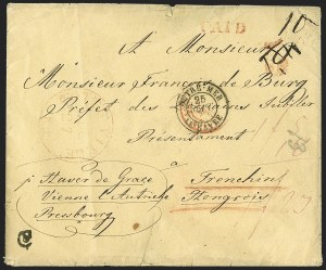 Sale Number 1196, Lot Number 538, Ship Mail from 1800ca 1845-50, Pottsville Pa. to Hungary, ca 1845-50, Pottsville Pa. to Hungary