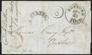 Sale Number 1196, Lot Number 539, Ship Mail from 18001851, Havana, Cuba to Quebec via New York, 1851, Havana, Cuba to Quebec via New York