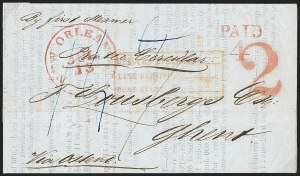 Sale Number 1196, Lot Number 540, Ship Mail from 18001852, New Orleans to Ghent, Belgium, 1852, New Orleans to Ghent, Belgium